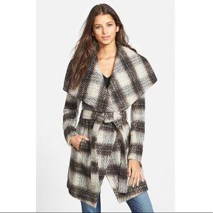 BCBGeneration Women's Plaid Wool Wrap Coat
